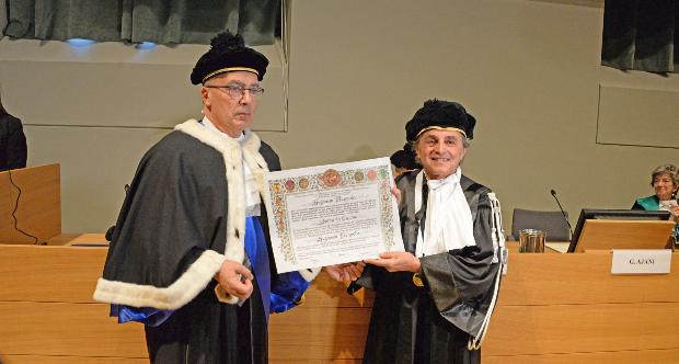 Il Rettore Gianmaria Ajani con Ugo Nespolo