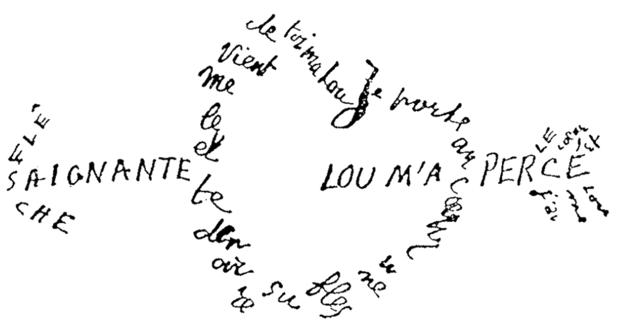 Guillaume Apollinaire - Calligramme - Saignante_flèche