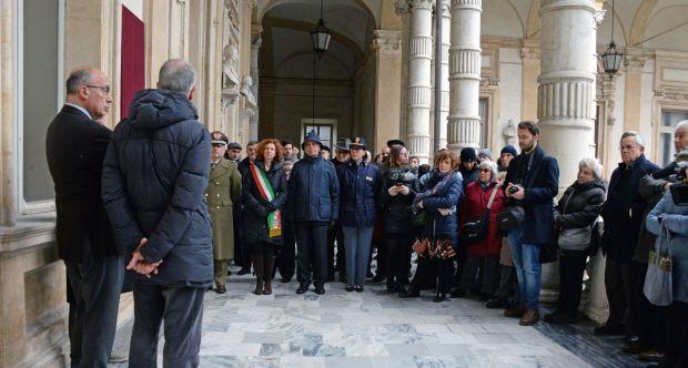Cerimonia di scopertura della lapide in ricordo del personale espulso dall'Università di Torino - Loggiato del Rettorato