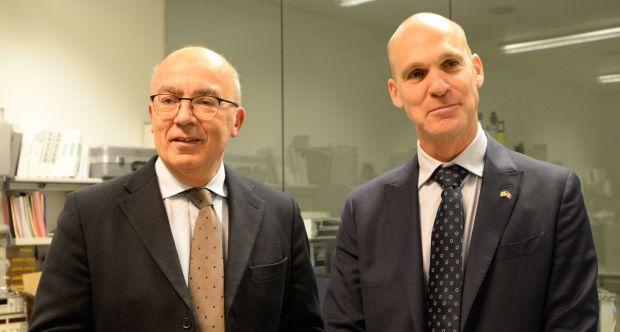 (da sx) Gianmaria Ajani, Rettore UniTo, Ofer Sachs, Ambasciatore Israele in Italia